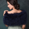 Navy blue marabou feather bridal stole, vintage bridal wrap